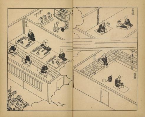 『古梅園墨談』(大正15年発行)より、墨づくりの様子。