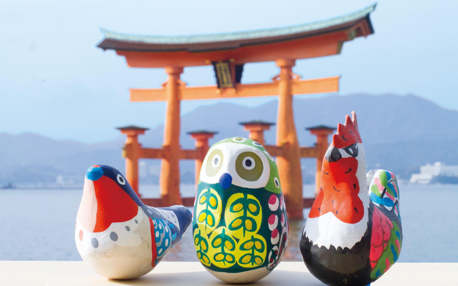 厳島神社から新年へ羽ばたく干支の張り子