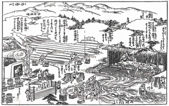 『南都布さらし乃記』(寛政元年)に描かれた当時の晒場の様子