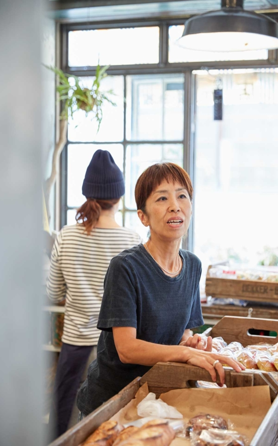 オーナーの森田三和さん。「年をとるほどに強くかっこよく、サンドイッチの ように人と重なりあいながら生きたい」という例え方も素敵。