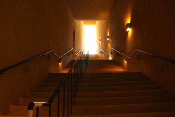 土のトンネルの中にいるような、不思議な空間。明るい光を目指してまっすぐ昇ります。