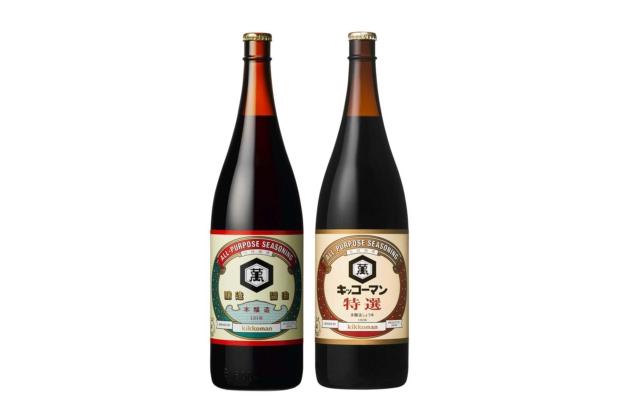Kikkoman soy sauce in 1.8 liter glass bottles