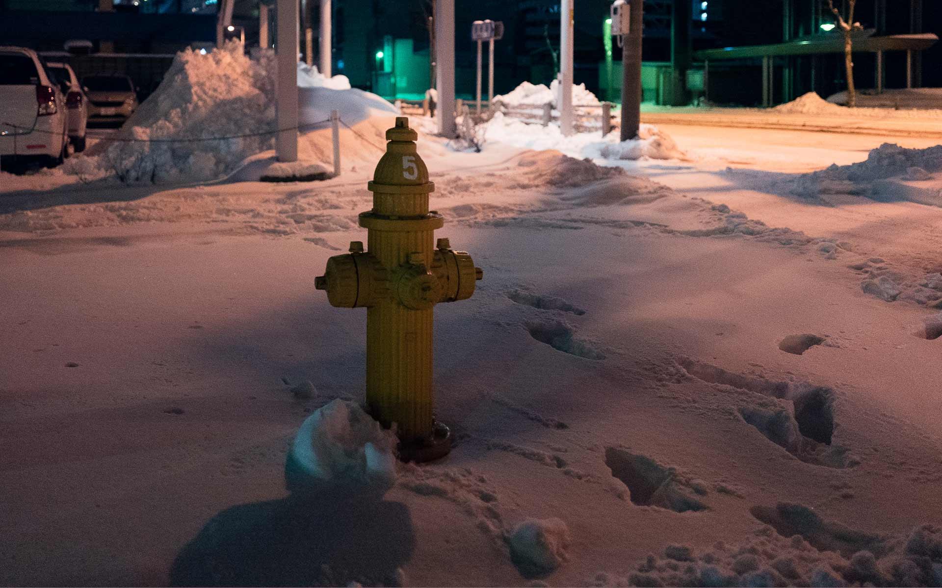 函館独自の色と形の消火栓。外国の消火栓を参考に函館市が設計し、1937年(昭和12年)から使用されている