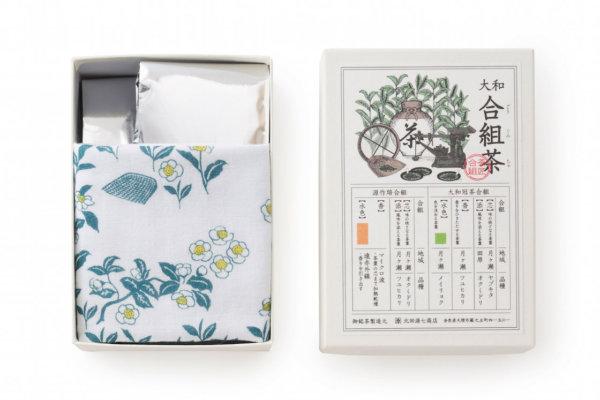 合組茶2種に「北田源七商店」オリジナルの茶小紋柄の布がついたセットは贈りものに