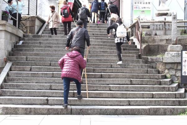 皆さんも、登り始めは軽快です。手に杖を持っている方が多数。