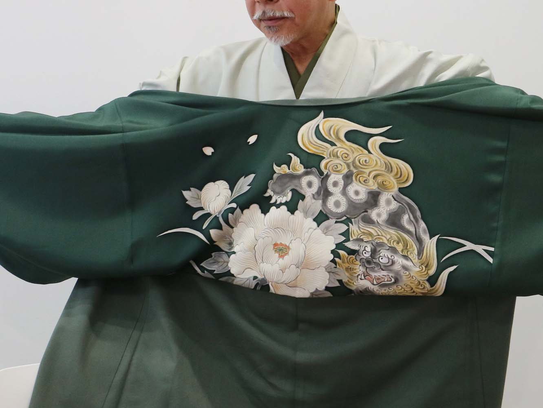矢嶋氏の羽織の裏地。唐獅子牡丹。裏地に凝る遊び心