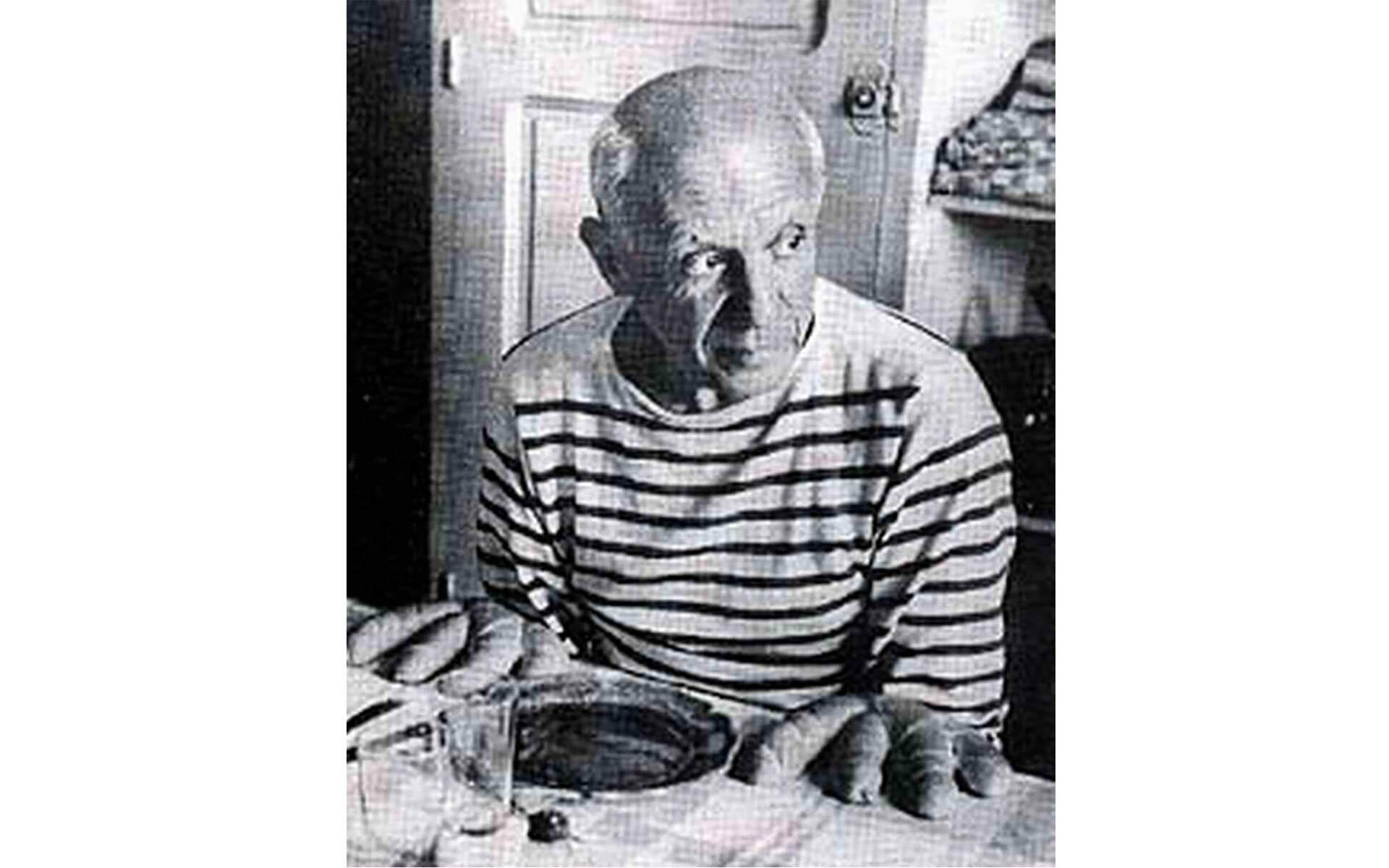 A portrait of Pablo Picasso taken by photographer Robert Doisneau.
