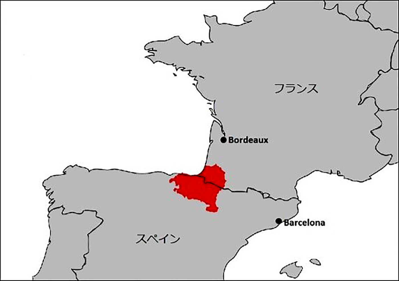 The area marked red is Basque.