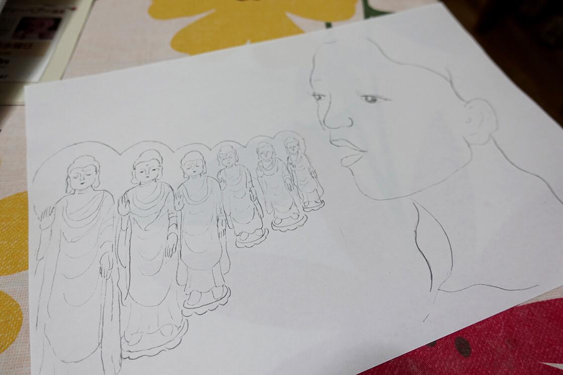 仏教の教えの際に使われているタカさん手書きのイラスト