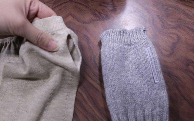左がバンナー機で作った指が通るアームカバー。右が指を通す部分にカットを入れるタイプのアームカバー