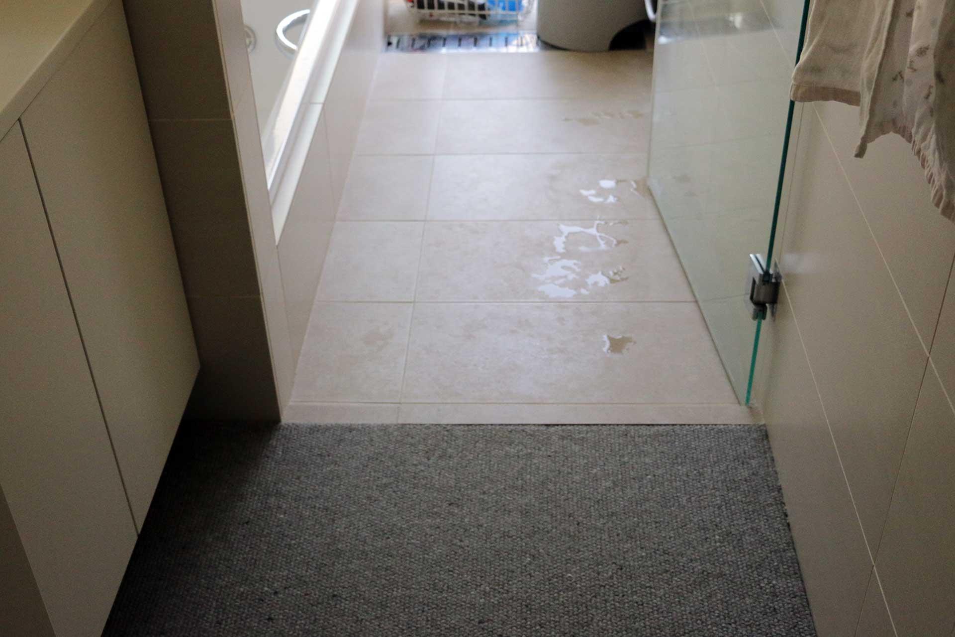 脱衣所の際までカーペット敷き