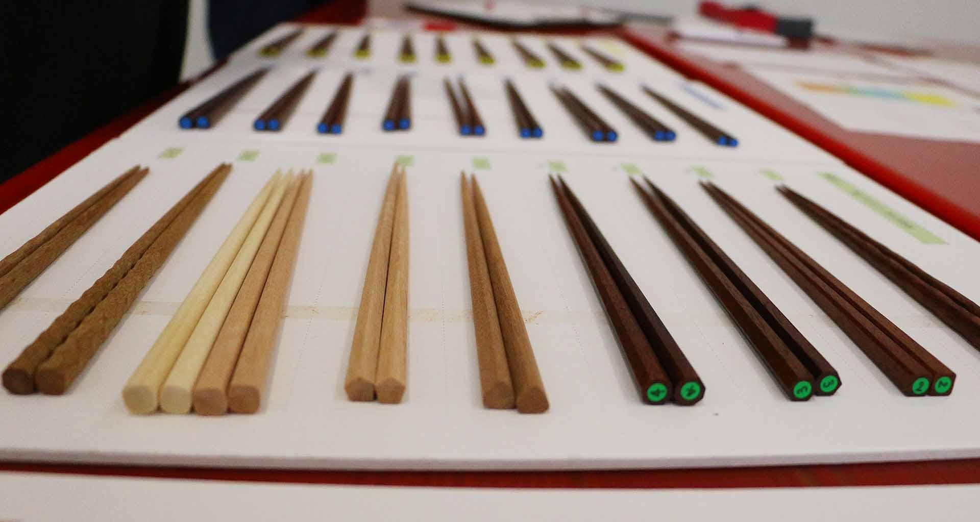 試作したお箸。その数なんと254本!