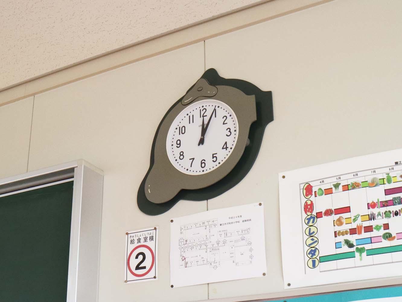 家庭科室の時計は、水道の蛇口デザインでした