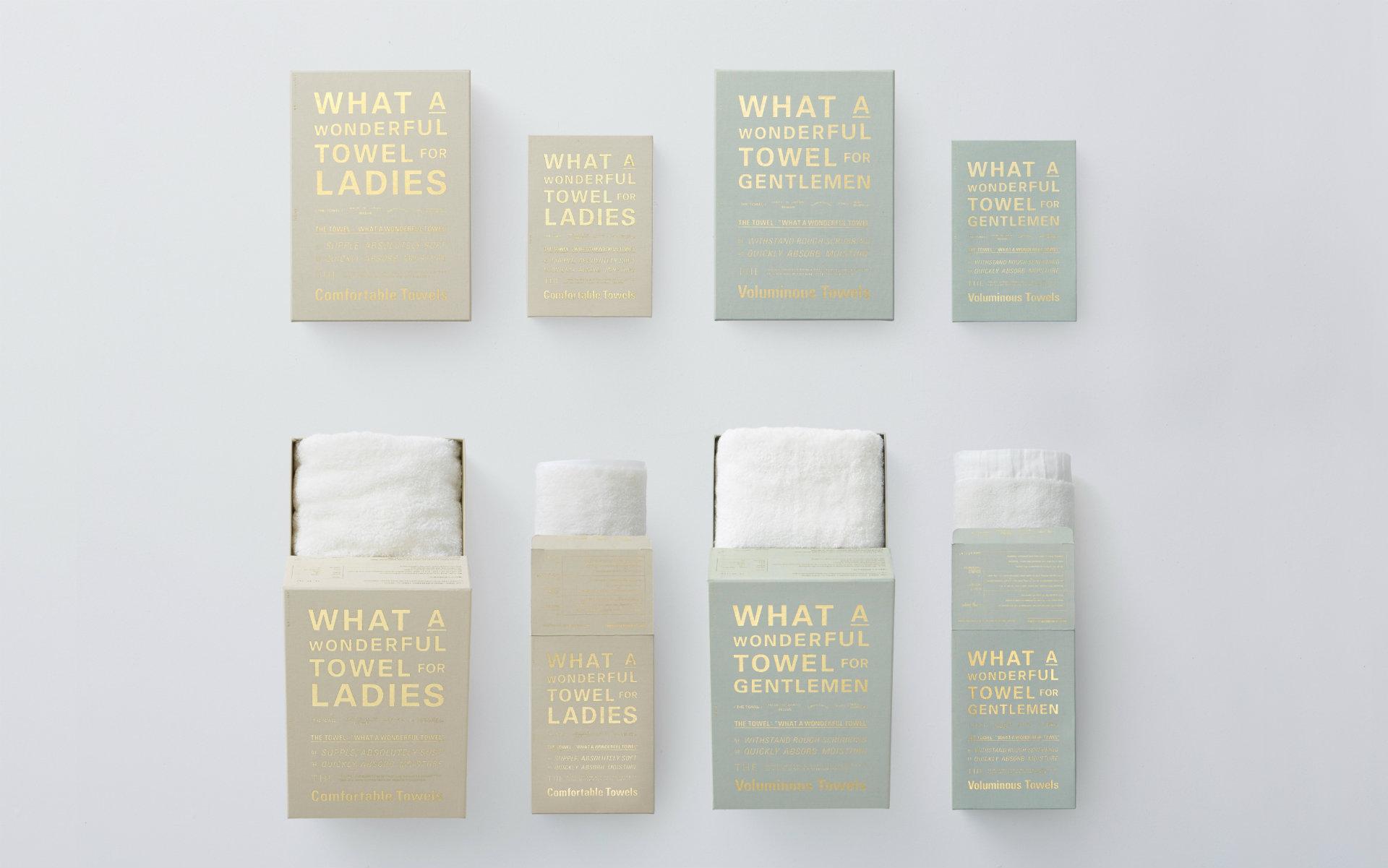 こちらは男女それぞれの使い心地の良さを追求した「THE TOWEL for LADIES/GENTRMEN」。箱入りで贈り物にもぴったり