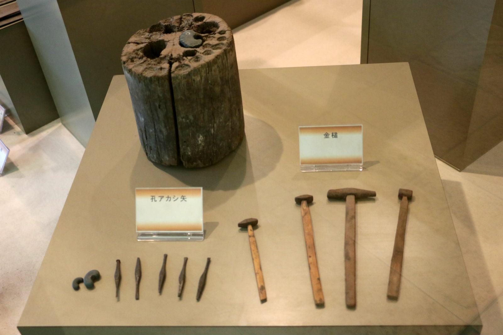 かつての道具の展示。細やかな細工が要ることが伺える