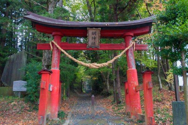 綱神社の鳥居。ここからは少し山道を歩きます