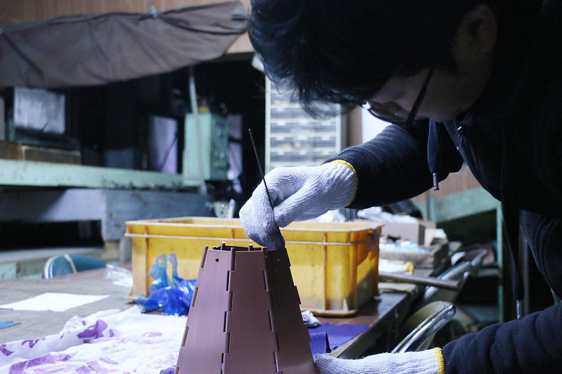 川辺手練団ランプシェード製作工程