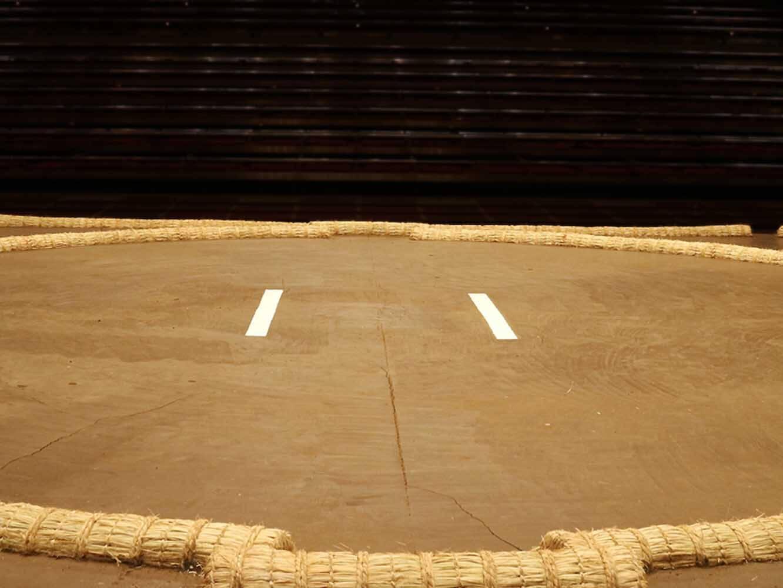 土台中央の白い仕切り線は、エナメルを塗って書きあげられる。取り組み終了後、毎日手入れされ美しく保たれるのだそう