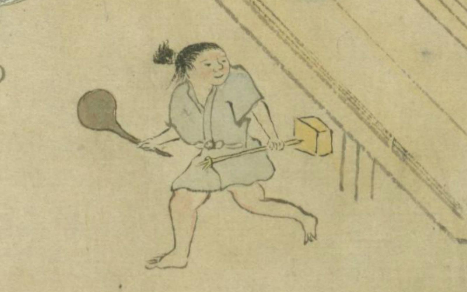 絵巻を巻き戻ると、ゴミ捨て場に向かう少年の手に、杓子のようなものが