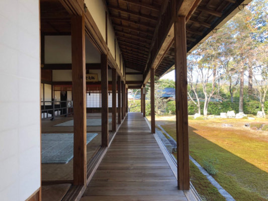 圓通寺の庭園に面する縁側