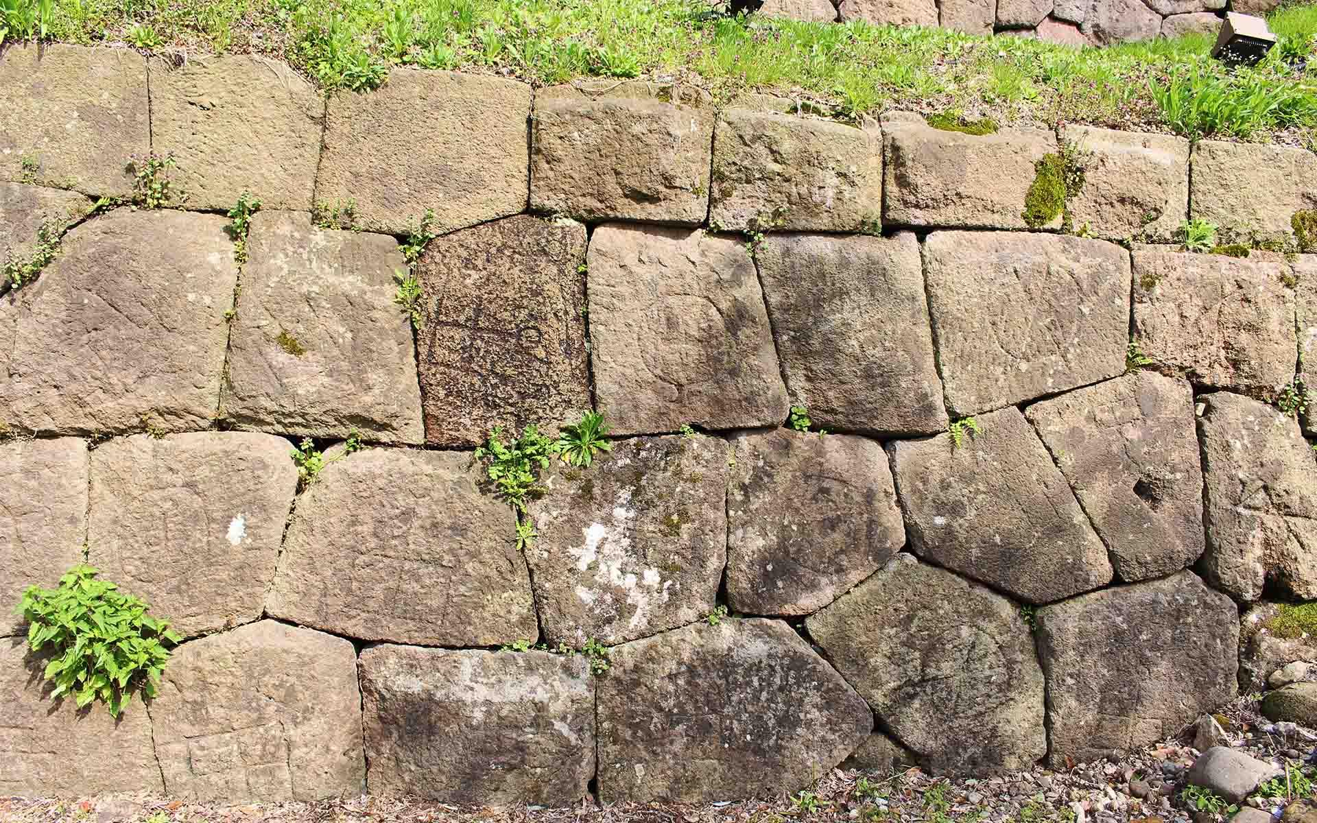 刻印のある石も多く使われており、200種類以上あるという。刻印のある石ばかりを並べたところもあり、模様のようにも見える