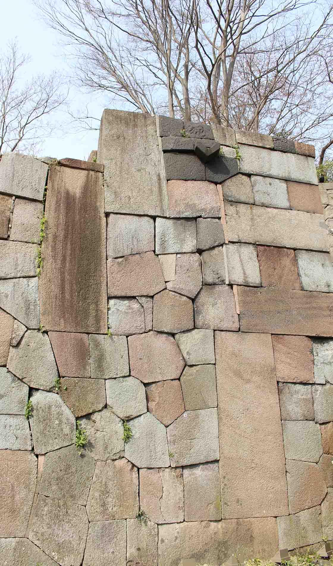 玉泉院丸庭園の「色紙短冊積み」。石の形や色の組み合わせ、並べ方ににデザイン性があり、庭の景観要素と考えられているというのもうなずける