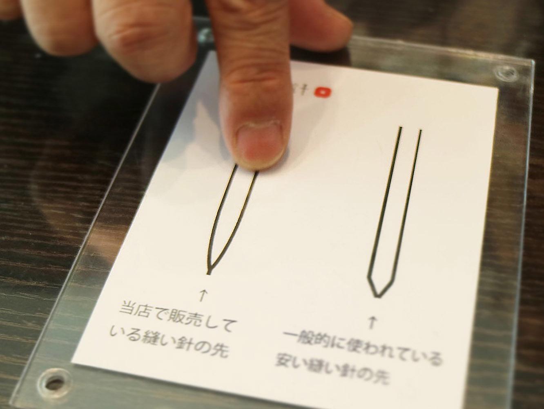 針先の違いを図解していただきました。角が無く、傾斜が滑らかなので摩擦抵抗が少なくなるそう