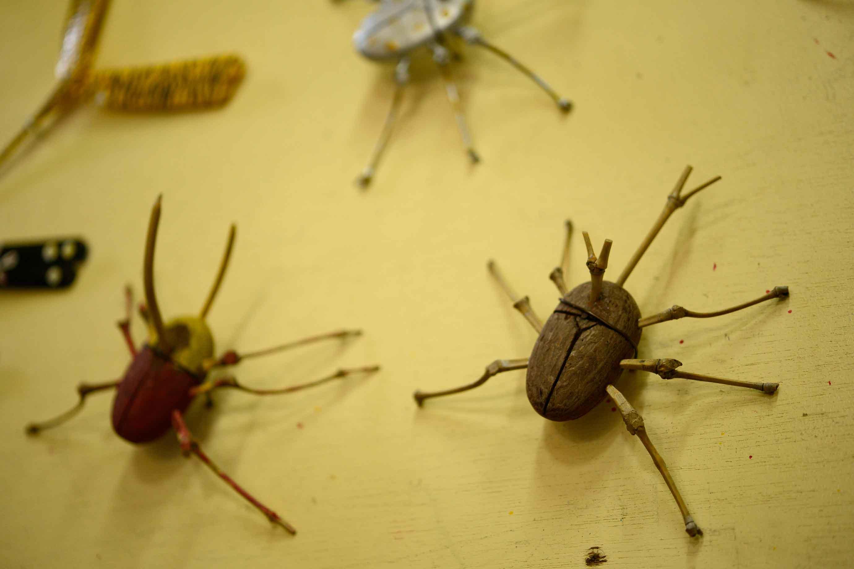 2階への階段の壁には、小学生向け講座で作る昆虫作品なども飾られていました
