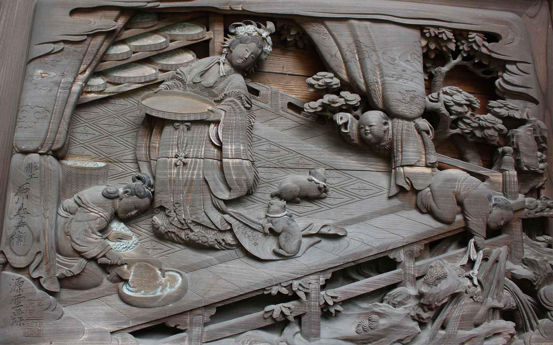 貴渡神社、桑の葉を運ぶ場面