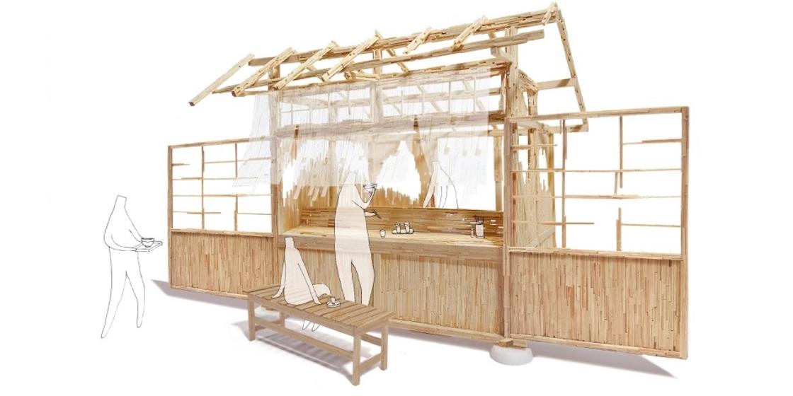 アーティストによる説明:割り箸集成材による蕎麦屋台