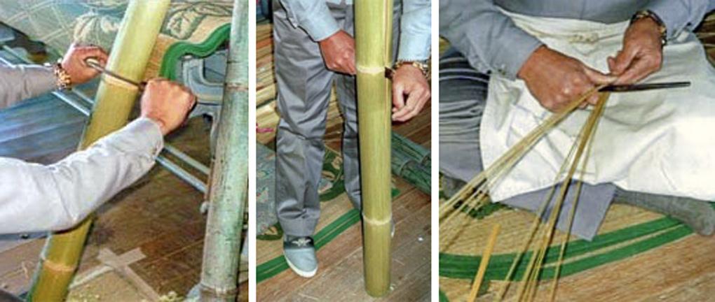 竹の甘皮をむき、均等な太さになるよう徐々に細く割っていきます