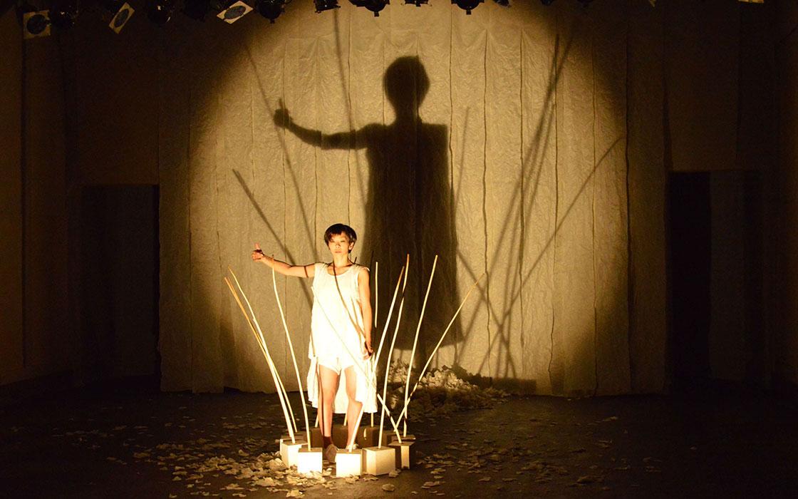 光に照らされたダンサーの影を映す和紙