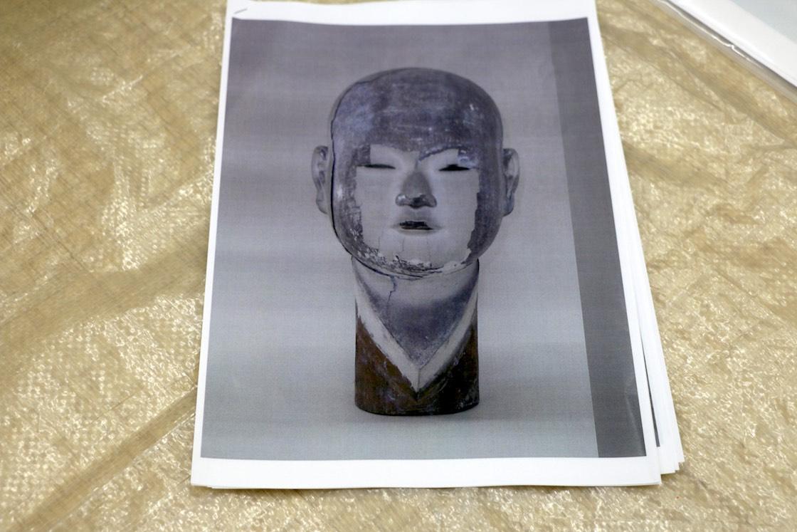 修理前の仙寿院宮像の頭部