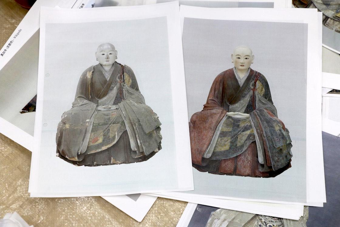 先に修理が完了したお像のひとつ。見違えるほど表情は生き生きと、衣は色鮮やかに