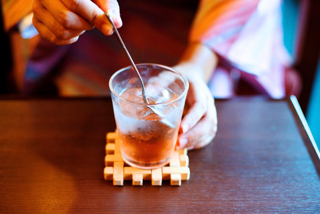 試飲させてもらったいちご酢のソーダ割