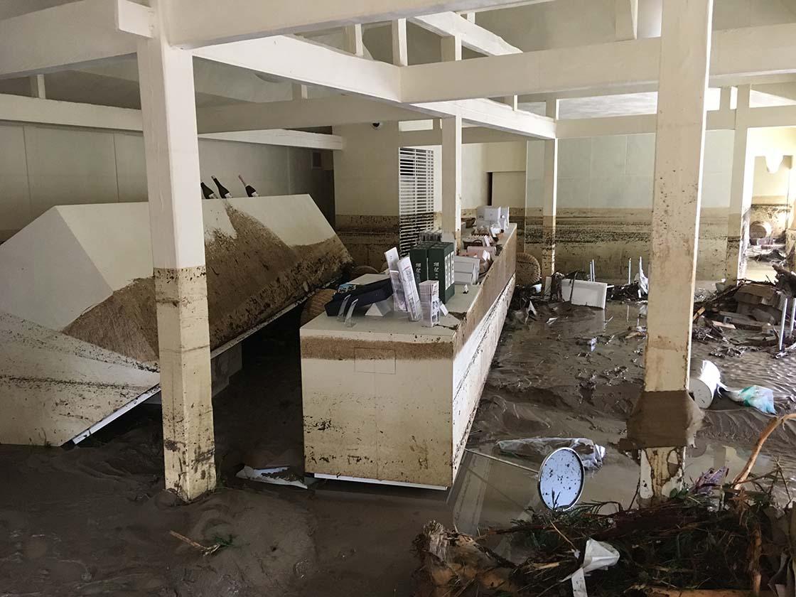 2018年夏、西日本を襲った集中豪雨で被災した旭酒造本社