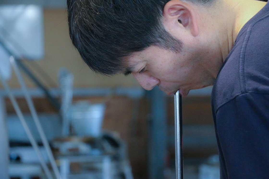 富士山グラスは31人いる職人さんの中でも、3名の方しかできない高難度の商品だそう