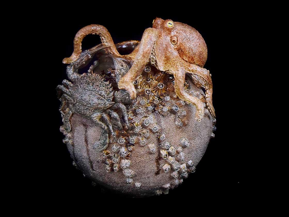 長瀬渉:塩釉蛸壺石蟹図