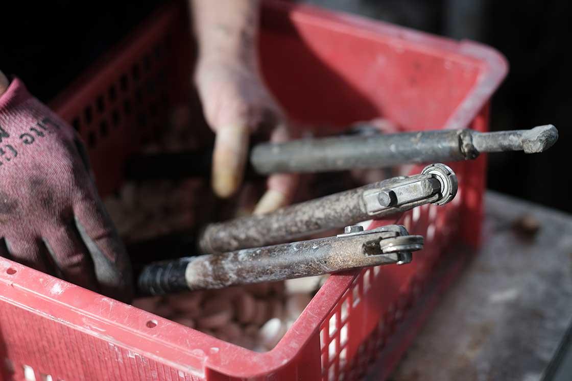 下鶴さんが、砥石を削るために使う3種類のドレッサー