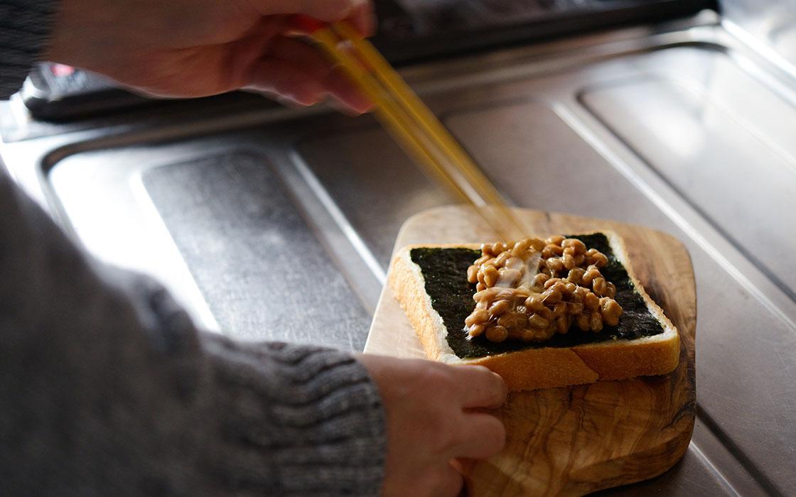 海苔納豆トースト