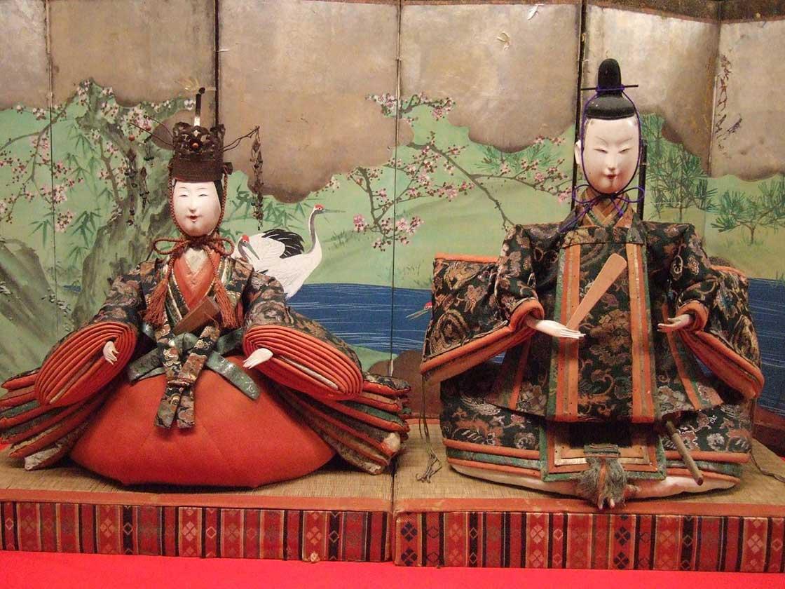 屏風飾り(享保雛・江戸時代後期)