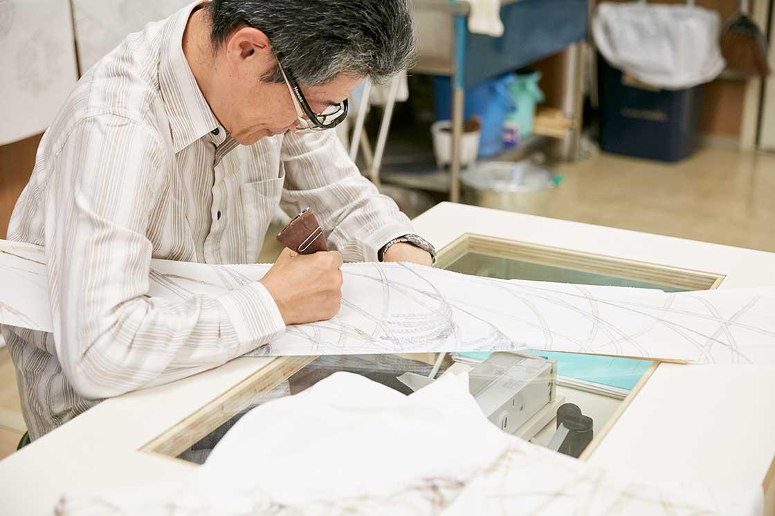 京都伝統工芸大学校で一緒に作業をおこなう先生