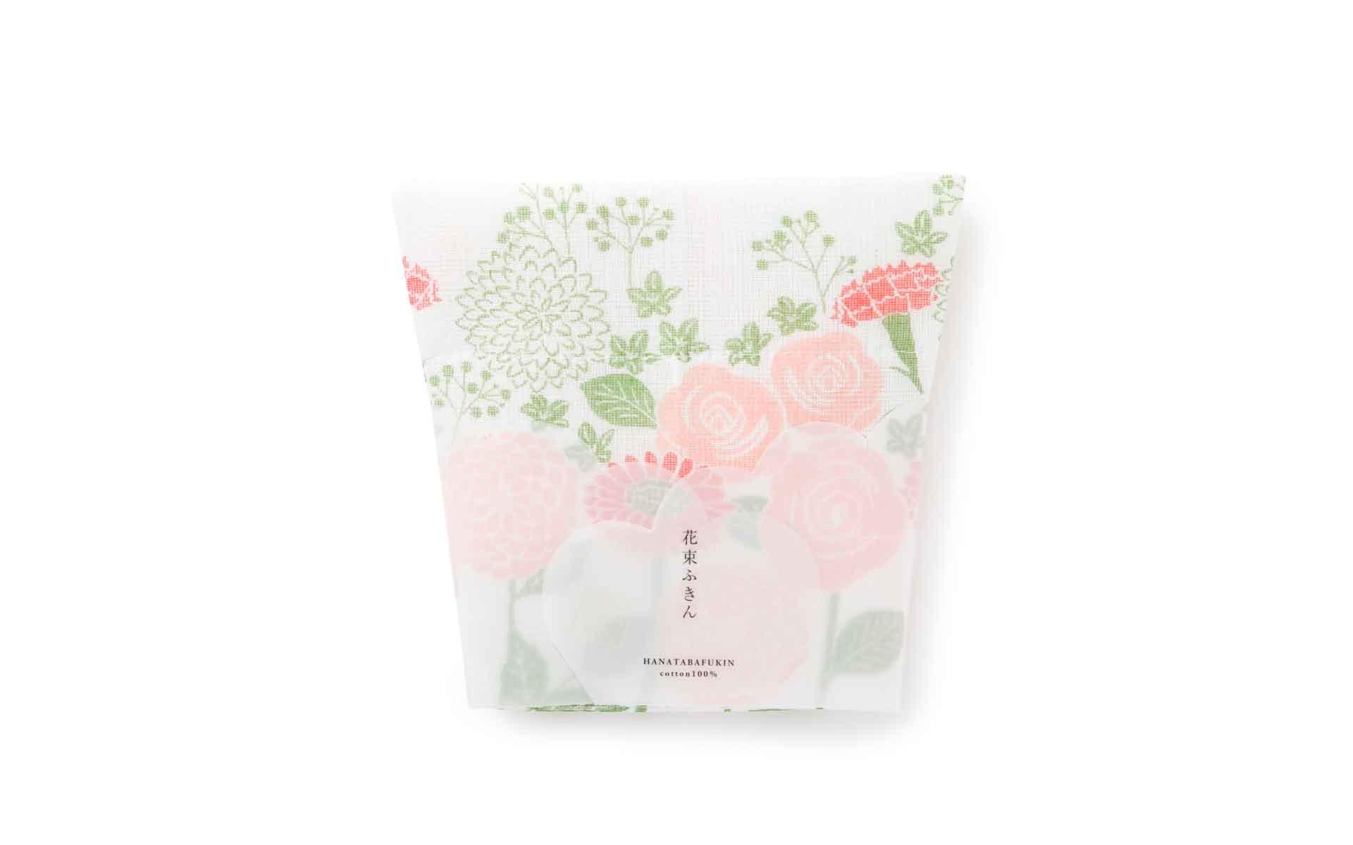最近はこんな贈る姿も楽しいふきんも。たたむと花束のように見える「花束ふきん」