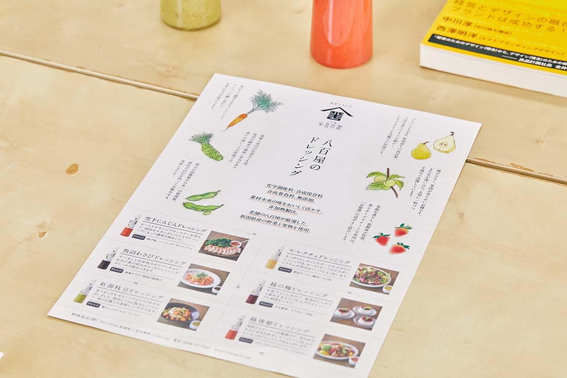 野島食品 八百屋のドレッシング チラシ