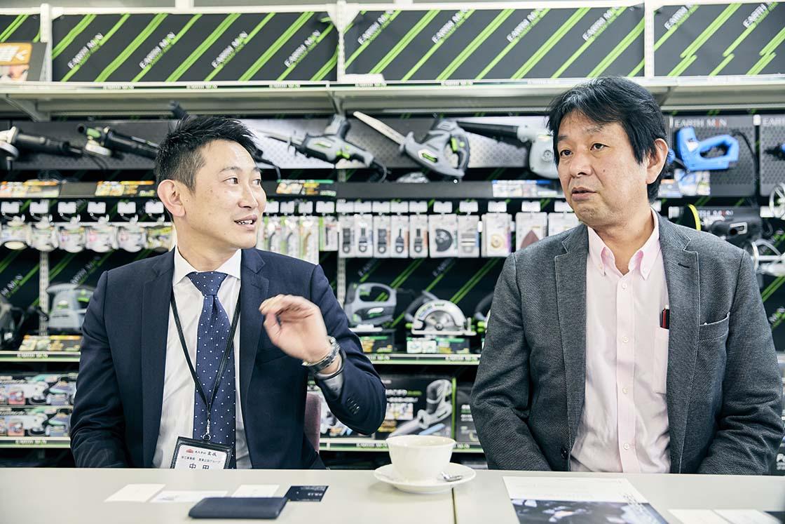 株式会社高儀の中田博明さんと五十嵐篤さん