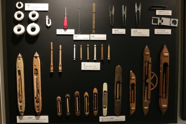 西陣織会館の杼の展示