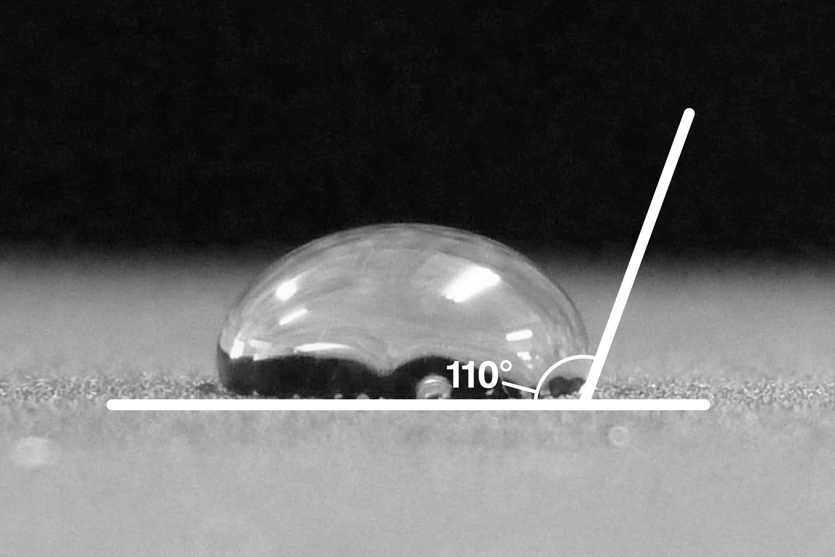 通常の撥水(接触角:約110度)