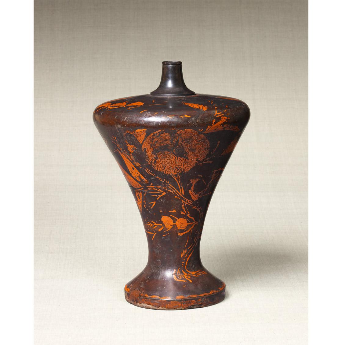 日本民藝館 漆絵栗文瓶子