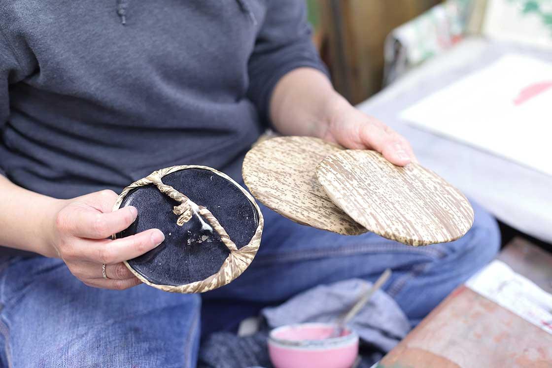 バレン芯を包む天然の竹皮
