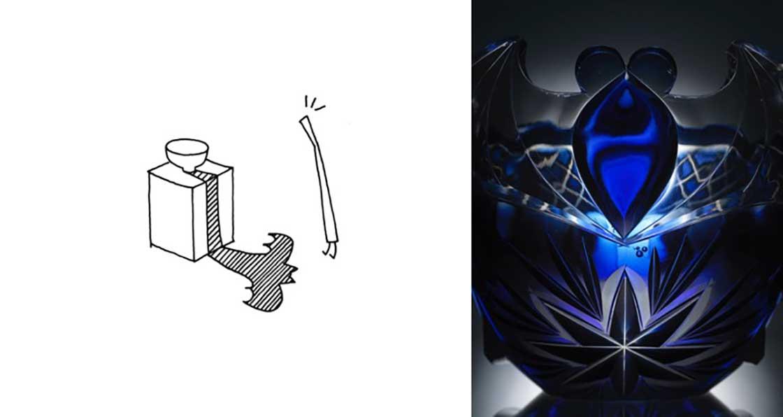 スケッチ no.3 薩摩切子 藍色被船形鉢